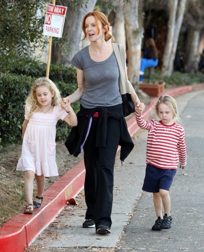 Marcia Cross Taking Her Twins To Gymnastics Class