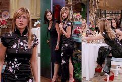 Neste vestido de chinesa. Rachel apresenta-se elegante e com um charme cultural que difere do habitual padrão da sua roupa.
